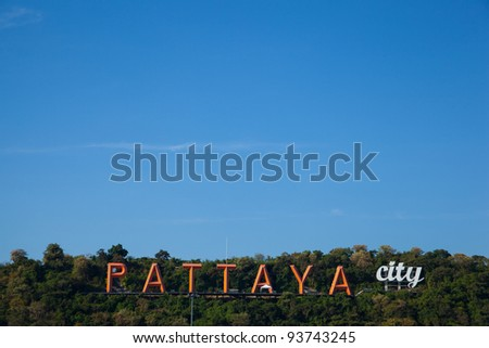 Label symbol of Pattaya attractions Pattaya in Thailand. - stock photo
