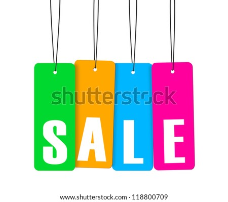 Label tag a variety of colors and word. - stock photo