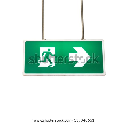 Label that will help you escape EMERGENCY - stock photo