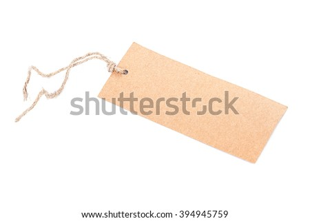 Label with a string isolated on white background. - stock photo