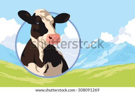 Label with the image of a cow on a background of nature - stock photo