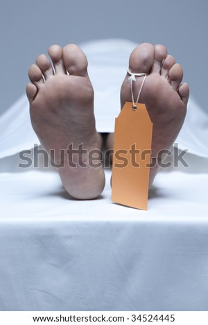 Labeled feet of a dead person - stock photo