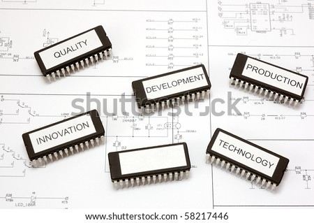 Labeled integrated circuits with one blank pole - stock photo