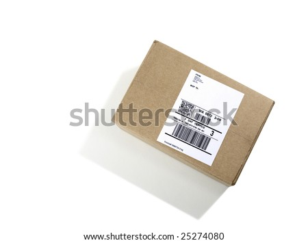 Labeled Shipping Box - stock photo
