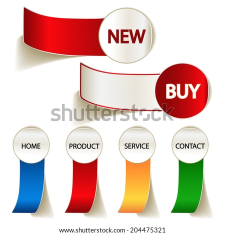 labels for web, new and buy - stock photo