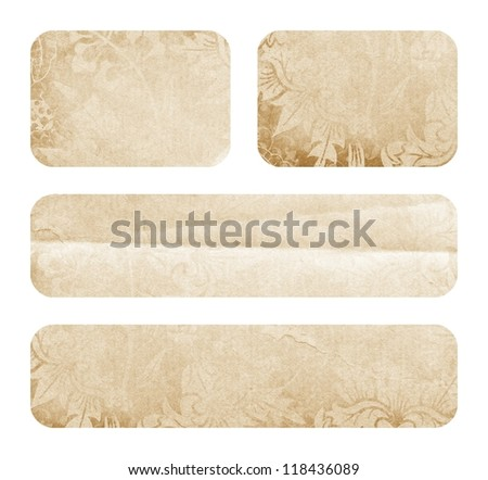 Labels of paper on white background - stock photo