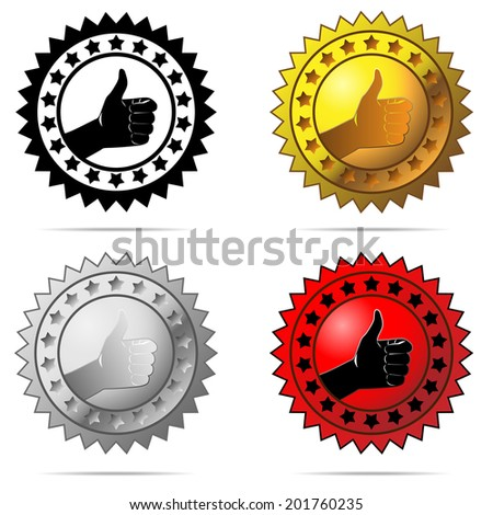 Labels with thumb up sign symbolizing best choice, best price, high quality, etc. isolated on white background. - stock photo