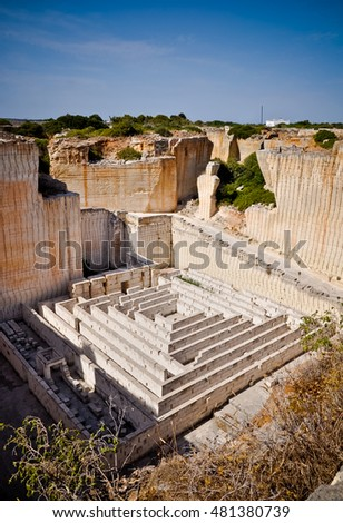 Labirynth in Lithica, sandstone quarry near Ciutadella town, Minorca