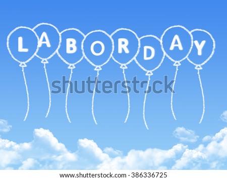 labor day in balloon cloud shape - stock photo