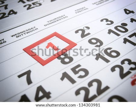 Labor day is marked on the calendar. - stock photo