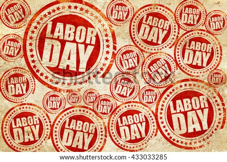 labor day, red stamp on a grunge paper texture