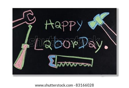 labor day text on Blackboard - stock photo