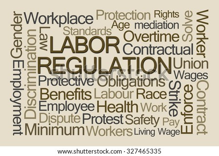 Labor Regulation Word Cloud on Brown Background - stock photo