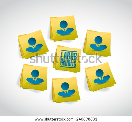 labor unions people and posts illustration design over a white background - stock photo