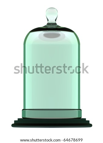 Laboratory Bell Jar on Antique Plinth in profile - stock photo
