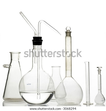 laboratory bottles - test tubes and beakers - on white - stock photo