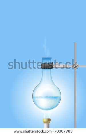 Laboratory burner and flask with place for your text - stock photo