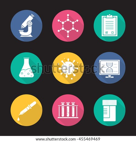 Laboratory equipment flat design long shadow icons set. Research biological science lab tools. Scientific, pharmaceutical and medical lab items. Logo concepts. Raster white silhouette illustrations - stock photo