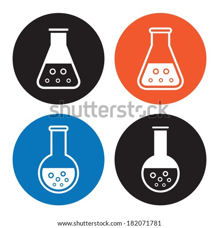 Laboratory equipment icons - stock photo
