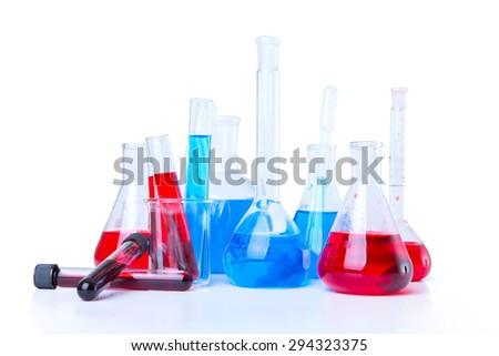Laboratory Equipment isolated background - stock photo