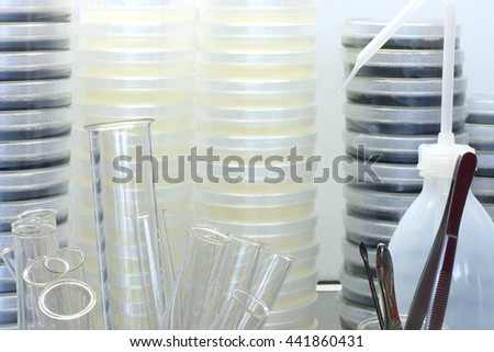 laboratory equipment. test tubes, tweezers and petri dishes