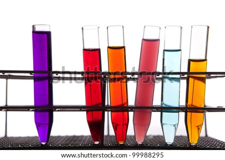 Laboratory equipment with some colored liquids