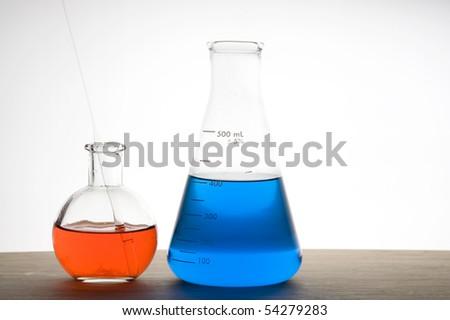Laboratory flask isolated on white background - stock photo