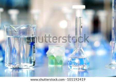 Laboratory flasks - stock photo
