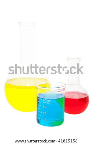 Laboratory glass containing various fluids.  Shot on white background.