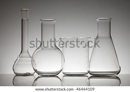 laboratory glass material on a white background - stock photo