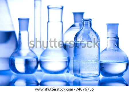 Laboratory glass, Research and experiments - stock photo