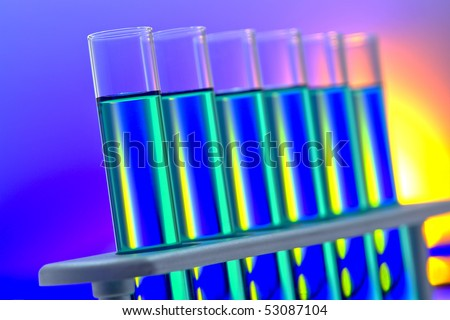 laboratory glass test tubes filled with liquid on a rack for an experiment in a science research lab