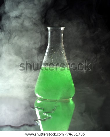 Laboratory Glass with green liquid
