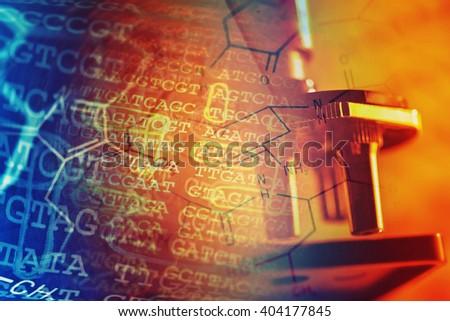 Laboratory glassware and periodic table of elements. Science con - stock photo