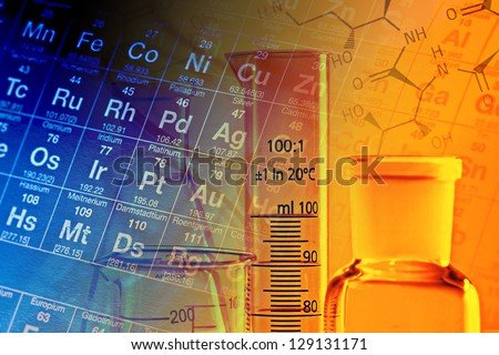 Laboratory glassware and periodic table of elements. Science concept. - stock photo