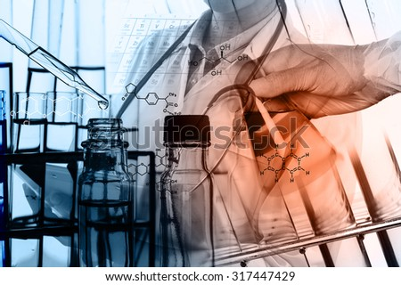 Laboratory glassware containing chemical liquid, science research,Double exposure of scientist and test tubes, laboratory concept - stock photo