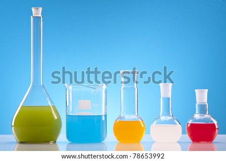 Laboratory glassware! Flasks with colorful fluid