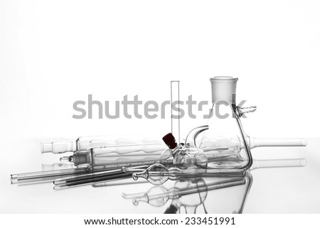 Laboratory glassware isolated on white - stock photo