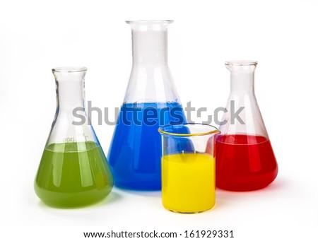 Laboratory glassware  isolated over white background - stock photo