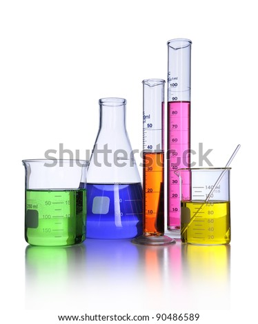 Laboratory glassware isolated over white background - With clipping path - stock photo