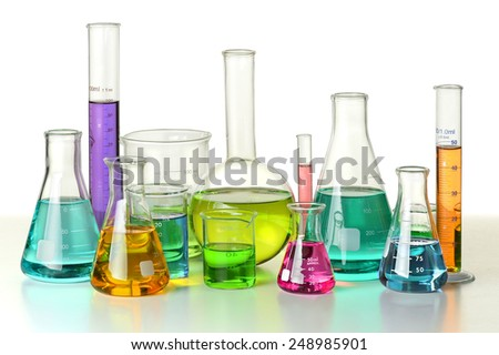 Laboratory glassware on isolated over white background - With Clipping Path on glassware - stock photo