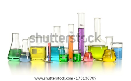 Laboratory glassware on reflective table isolated over white background - With Clipping path