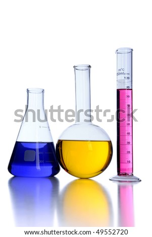 Laboratory glassware over white background - stock photo