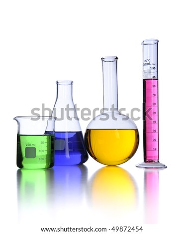 Laboratory glassware over white background with reflections on foreground - stock photo