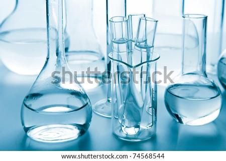 laboratory glassware toned blue - stock photo