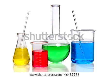 Laboratory glassware with Flasks and  beaker over white background - stock photo