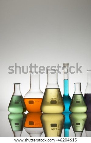 laboratory glassware with white background