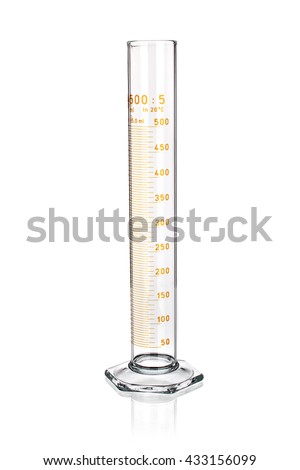 Laboratory graduated cylinder isolated on white