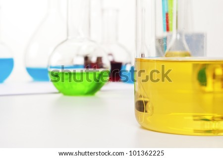 laboratory items - test tubes and flasks, chemical stillife - stock photo