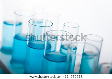Laboratory Lab Tube in blue sample - stock photo